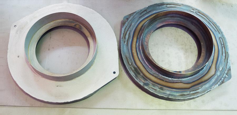 Деталь до и после гидроабразивной обработки поверхности (тонкостенные детали – зачистка труднодоступных мест)