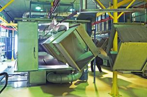 Порошковая окраска на конвейере объемных изделий